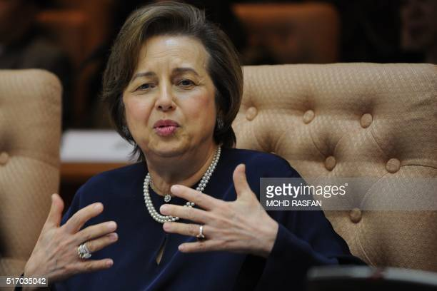 Malaysia's Central Bank Governor Zeti Akhtar Aziz delivers an address as the bank releases its 2015 annual report at the Bank Negara offices in Kuala...