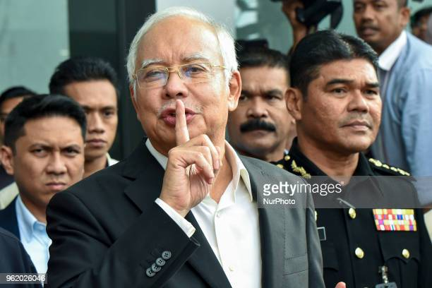 Malaysia's former Prime Minister Najib Razak speaks to press at infront of Malaysian AntiCorruption Commission on May 24 2018 in Putrajaya Malaysia...