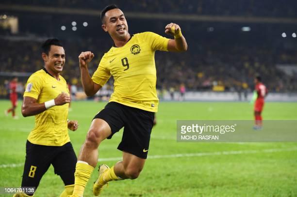 Malaysia's forward Norshahrul Idlan Talaha celebrates after scoring a goal during the AFF Suzuki Cup 2018 football match between Malaysia and Myanmar...