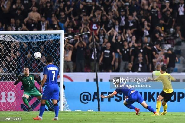 Malaysia's forward Norshahrul Idlan Talaha scores a goal against Thailand's goalkeeper Chatchai Budprom during the second leg of the AFF Suzuki Cup...