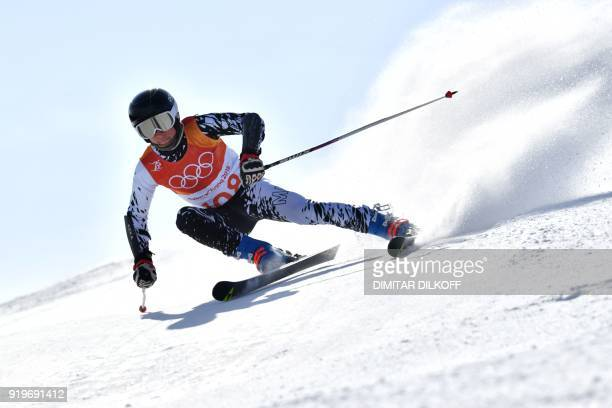 Malaysia's Jeffrey Webb competes in the Men's Giant Slalom at the Jeongseon Alpine Center during the Pyeongchang 2018 Winter Olympic Games in...