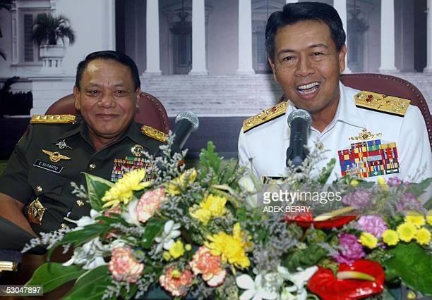 Malaysia's Military chief Admiral Tan Sri Dato' Sri Mohamad Anwar bin HJ Nor talks to journalists next by Indonesia's Military chief General...