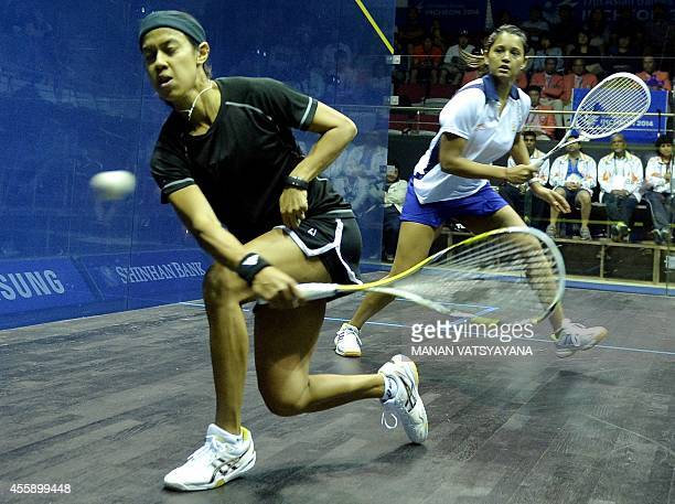 Malaysia's Nicol Ann David returns a shot against India's Dipika Pallikal during the women's squash semifinal match of the 2014 Asian Games at the...
