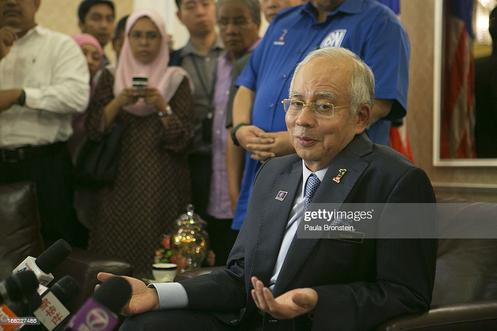 Malaysia's Prime Minister and Barisan Nasional (BN) chairman, Najib Razak speaks to the media about the election for the first time since Sunday's vote on May 7, 2013 in Kuala Lumpur, Malaysia. His ruling coalition is one of the world's longest serving governments having ruled Malaysia since independence from Britain in 1957. Opposition party leader Anwar Ibrahim has refused to accept the results, claiming that the closely contested elections were tainted by extreme fraud and is rallying his supporters on Wednesday for a protest to show his dissatisfaction.