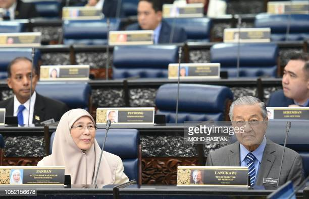 Malaysia's Prime Minister Mahathir Mohamad and deputy prime minister Wan Azizah attend a parliament session while People's Justice Party president...