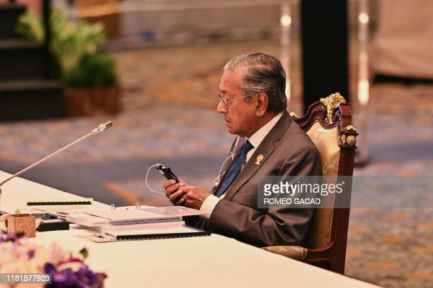 Malaysia's Prime Minister Mahathir Mohamad attends the 12th IndonesiaMalaysiaThailand Growth Triangle summit on the sidelines of the 34th Association...