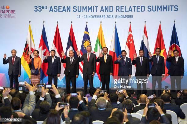 Malaysia's Prime Minister Mahathir Mohamad, Myanmar's State Counsellor Aung San Suu Kyi, Philippine's President Rodrigo Duterte, Vietnam's Prime...