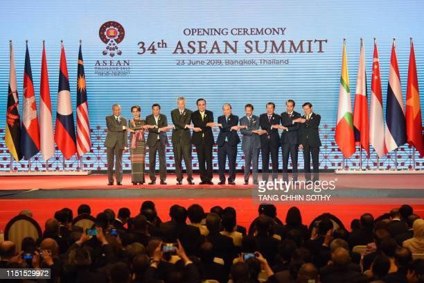 Malaysia's Prime Minister Mahathir Mohamad Myanmar's State Counsellor Aung San Suu Kyi Philippines' President Rodrigo Duterte Singapore's Prime...