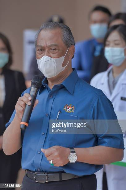Malaysias Prime Minister Muhyiddin Yassin addressing the media in Putrajaya, February 24, 2021. Muhyiddin Yassin is the first person to recieve...