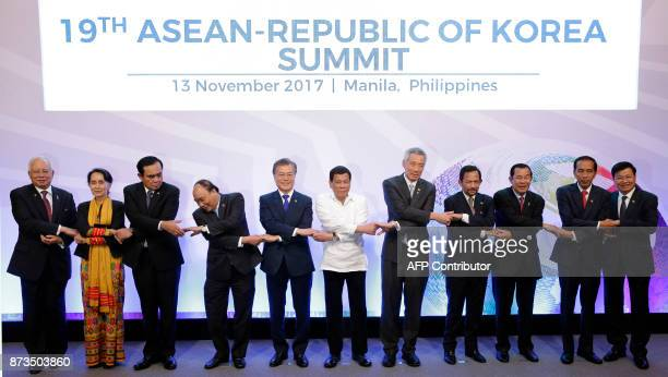 Malaysia's Prime Minister Najib Razak Myanmar's State Councellor and Foreign Minister Aung San Suu Kyi Thailand's Prime Minister Prayuth Chanocha...