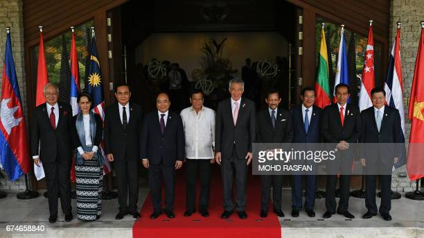 Malaysia's Prime Minister Najib Razak Myanmar's State Counsellor and Foreign Minister Aung San Suu Kyi Thailand's Prime Minister Prayut ChanOCha...