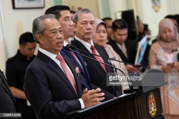 Malaysia's Prime Minister Tan Sri Muhyiddin Yassin holds a press conference after the first official Cabinet Meeting at the Prime Minister's Office...