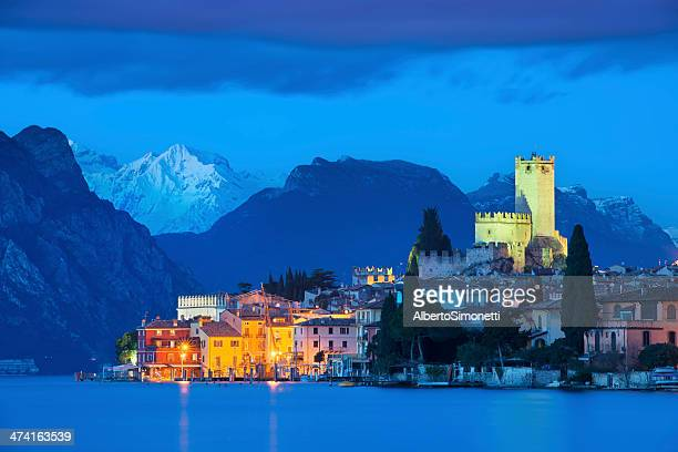 malcesine at night - lake garda stock pictures, royalty-free photos & images