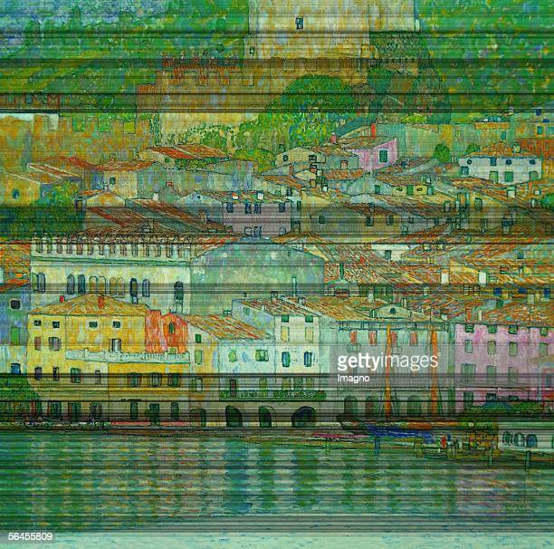 Malcesine at the Gardasee D186 Oil on Canvas by Gustav Klimt 1913 Burnt at Castle Immendorf in 1945 [Malcesine am Gardasee D186 oel/Lwd 1913 1945 im...