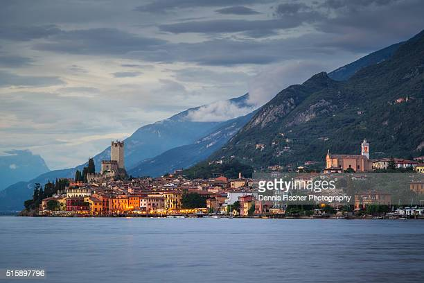 malcesine evening view - malcesine stock pictures, royalty-free photos & images