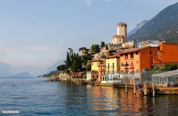 malcesine waterfront - malcesine stock pictures, royalty-free photos & images