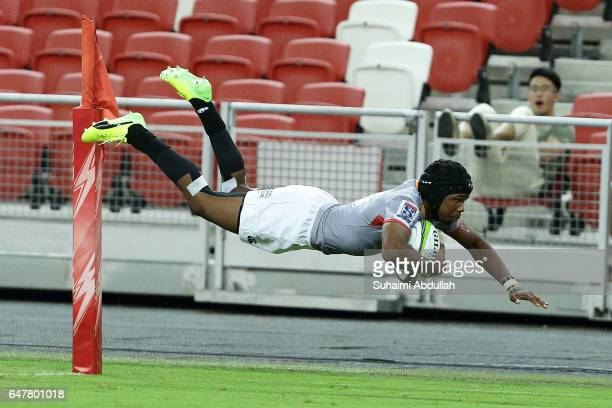Malcolm Adrian Emile Jaer of Kings dives to score a try during the round two Super Rugby match between the Sunwolves and the Kings at Singapore...