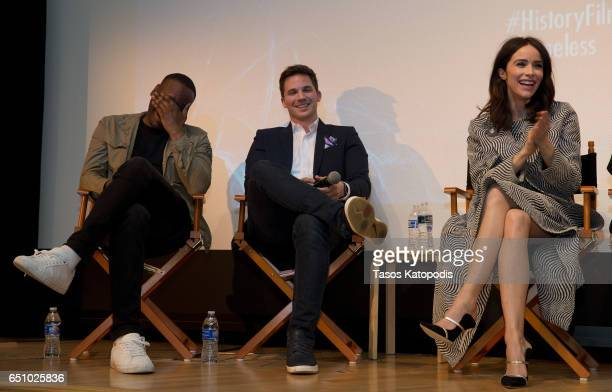 Malcolm Barrett Matt Lanter and Abigail Spencer speak after the screening of NBC and Sony Pictures Television Series Timeless at the Smithsonian...
