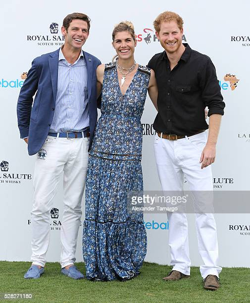 Malcolm Borwick Delfina Blaquier and Prince Harry are seen arriving at the Sentebale Royal Salute Polo Cup WIth Prince Harry on May 4 2016 in...