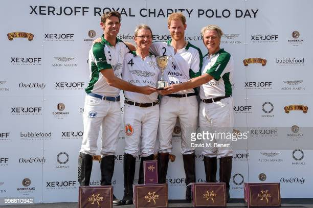 Malcolm Borwick Harald Link Prince Harry Duke of Sussex and Simon Holland attend the Xerjoff Royal Charity Polo Cup 2018 on July 14 2018 in Newbury...
