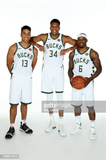 Malcolm Brogdon Giannis Antetokounmpo and Eric Bledsoe of the Milwaukee Bucks pose for a portrait during Milwaukee Bucks Media Day at Fiserv Forum on...