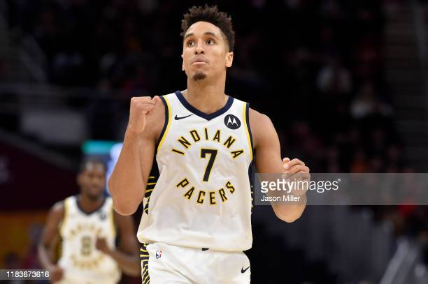 Malcolm Brogdon of the Indiana Pacers celebrates after the Pacers scored during the second half against the Cleveland Cavaliers at Rocket Mortgage...