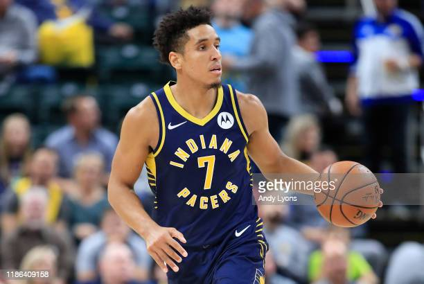 Malcolm Brogdon of the Indiana Pacers dribbles the ball against the Washington Wizards at Bankers Life Fieldhouse on November 06 2019 in Indianapolis...