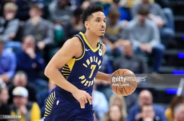 Malcolm Brogdon of the Indiana Pacers dribbles the ball against the Brooklyn Nets at Bankers Life Fieldhouse on February 10 2020 in Indianapolis...