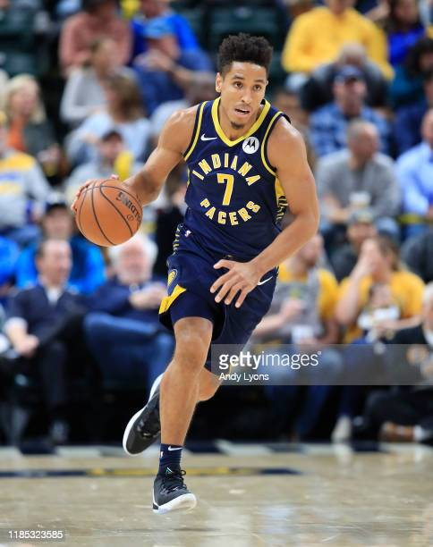 Malcolm Brogdon of the Indiana Pacers dribbles the ball in the game against the Chicago Bulls at Bankers Life Fieldhouse on November 03 2019 in...