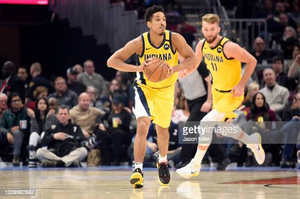 Malcolm Brogdon of the Indiana Pacers drives down court during the first half against the Cleveland Cavaliers at Rocket Mortgage Fieldhouse on...