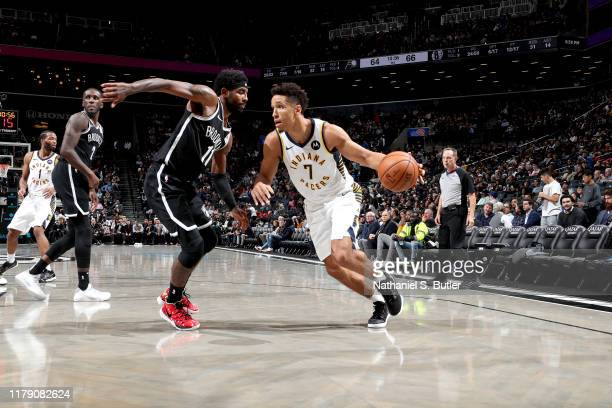 Malcolm Brogdon of the Indiana Pacers drives to the basket against the Brooklyn Nets on October 30 2019 at Barclays Center in Brooklyn New York NOTE...