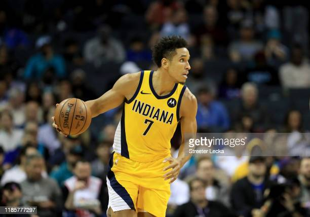 Malcolm Brogdon of the Indiana Pacers during their game at Spectrum Center on November 05 2019 in Charlotte North Carolina NOTE TO USER User...