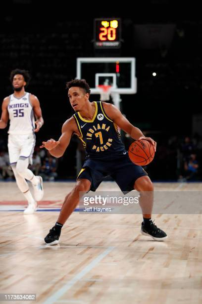 Malcolm Brogdon of the Indiana Pacers handles the ball against the Sacramento Kings on October 4 2019 at NSCI Dome in Mumbai India NOTE TO USER User...