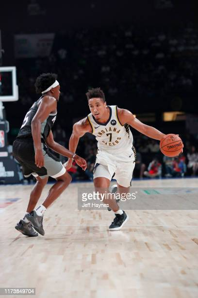 Malcolm Brogdon of the Indiana Pacers handles the ball against the Sacramento Kings on October 5 2019 at NSCI Dome in Mumbai India NOTE TO USER User...