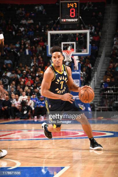 Malcolm Brogdon of the Indiana Pacers handles the ball against the Detroit Pistons on October 28 2019 at Little Caesars Arena in Detroit Michigan...