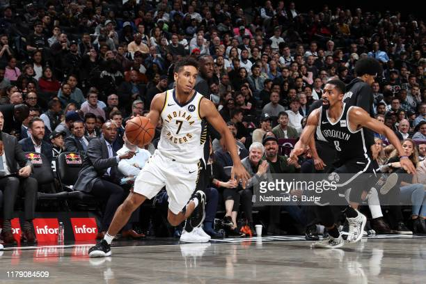 Malcolm Brogdon of the Indiana Pacers handles the ball against the Brooklyn Nets on October 30 2019 at Barclays Center in Brooklyn New York NOTE TO...