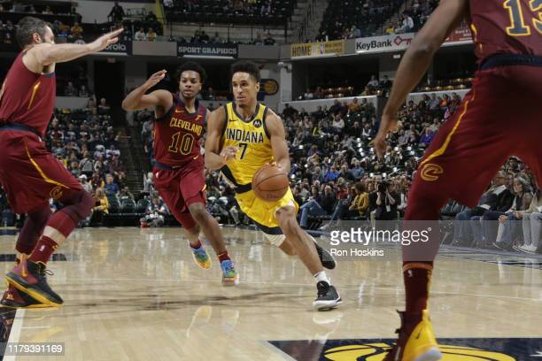 Malcolm Brogdon of the Indiana Pacers handles the ball against the Cleveland Cavaliers on November 1 2019 at Bankers Life Fieldhouse in Indianapolis...