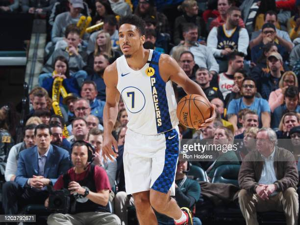 Malcolm Brogdon of the Indiana Pacers handles the ball against the Portland Trail Blazers on February 27 2020 at Bankers Life Fieldhouse in...