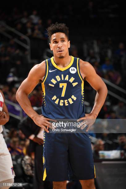 Malcolm Brogdon of the Indiana Pacers looks on during a game against the Detroit Pistons on October 28 2019 at Little Caesars Arena in Detroit...