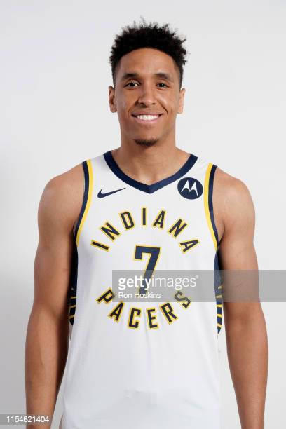 Malcolm Brogdon of the Indiana Pacers poses for a portrait after signing a free agent contract with the Indiana Pacers at Bankers Life Fieldhouse on...