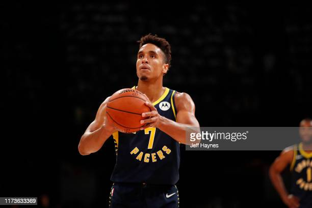 Malcolm Brogdon of the Indiana Pacers shoots a free throw against the Sacramento Kings on October 4 2019 at NSCI Dome in Mumbai India NOTE TO USER...