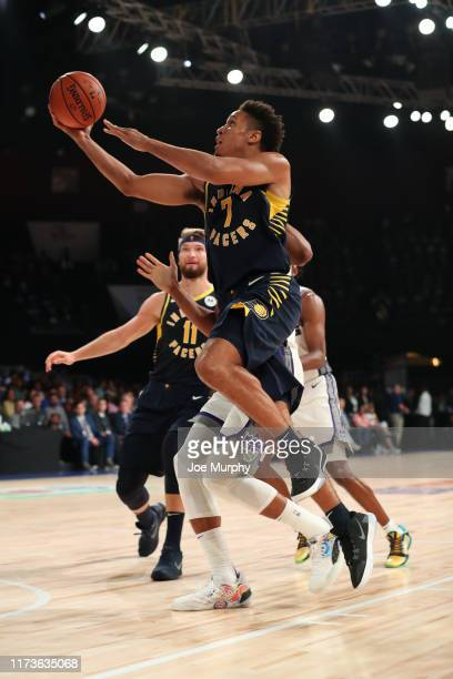 Malcolm Brogdon of the Indiana Pacers shoots the ball against the Sacramento Kings on October 4 2019 at NSCI Dome in Mumbai India NOTE TO USER User...
