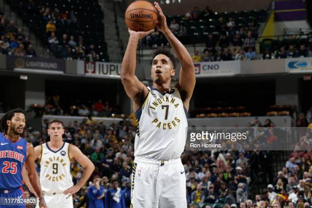 Malcolm Brogdon of the Indiana Pacers shoots the ball against the Detroit Pistons on October 23 2019 at Bankers Life Fieldhouse in Indianapolis...