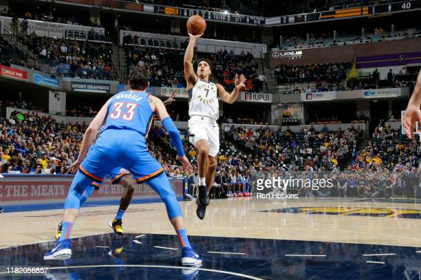 Malcolm Brogdon of the Indiana Pacers shoots the ball against the Oklahoma City Thunder on November 12 2019 at Bankers Life Fieldhouse in...