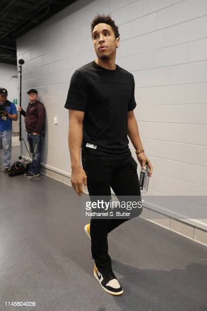 Malcolm Brogdon of the Milwaukee Bucks arrives to the arena prior to Game Five of the Eastern Conference Finals of the 2019 NBA Playoffs against the...