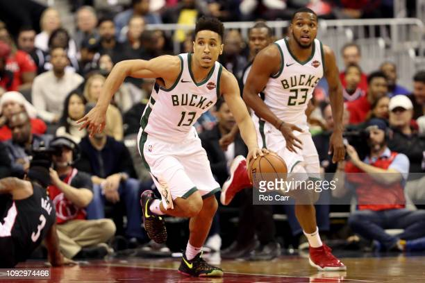 Malcolm Brogdon of the Milwaukee Bucks dribbles the ball against the Washington Wizards at Capital One Arena on January 11 2019 in Washington DC NOTE...