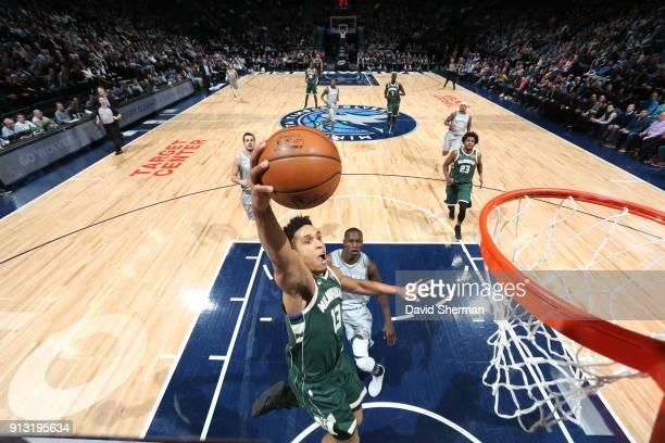 Malcolm Brogdon of the Milwaukee Bucks drives to the basket against the Minnesota Timberwolves on February 1 2018 at Target Center in Minneapolis...