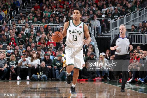 Malcolm Brogdon of the Milwaukee Bucks handles the ball against the Toronto Raptors during Game Two of the Eastern Conference Finals on May 17 2019...