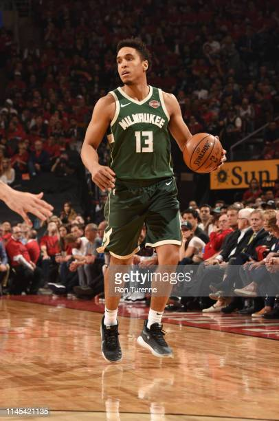 Malcolm Brogdon of the Milwaukee Bucks handles the ball against the Toronto Raptors during Game Four of the Eastern Conference Finals on May 21 2019...