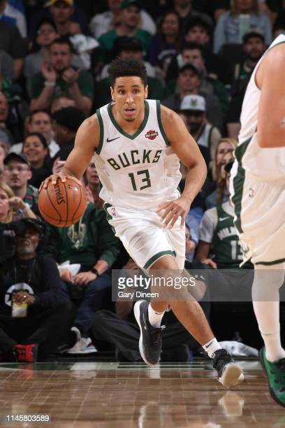 Malcolm Brogdon of the Milwaukee Bucks handles the ball against the Toronto Raptors during Game Five of the Eastern Conference Finals on May 23 2019...